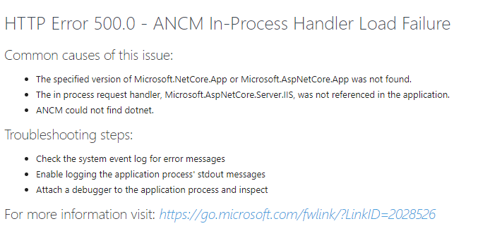 HTTP Error 500.0 ANCM In-Process Handler Load Failure